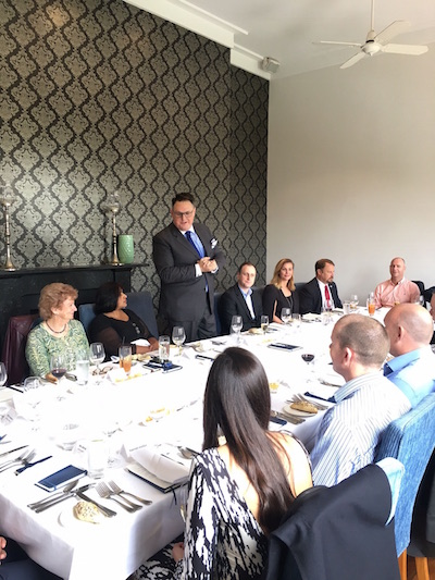 Kelly Webb addresses guests at the MSS & Sophos exclusive roundtable lunch