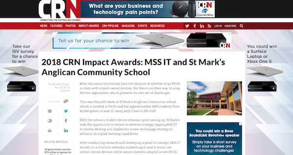 crn awards - mss it and st marks anglican community school article